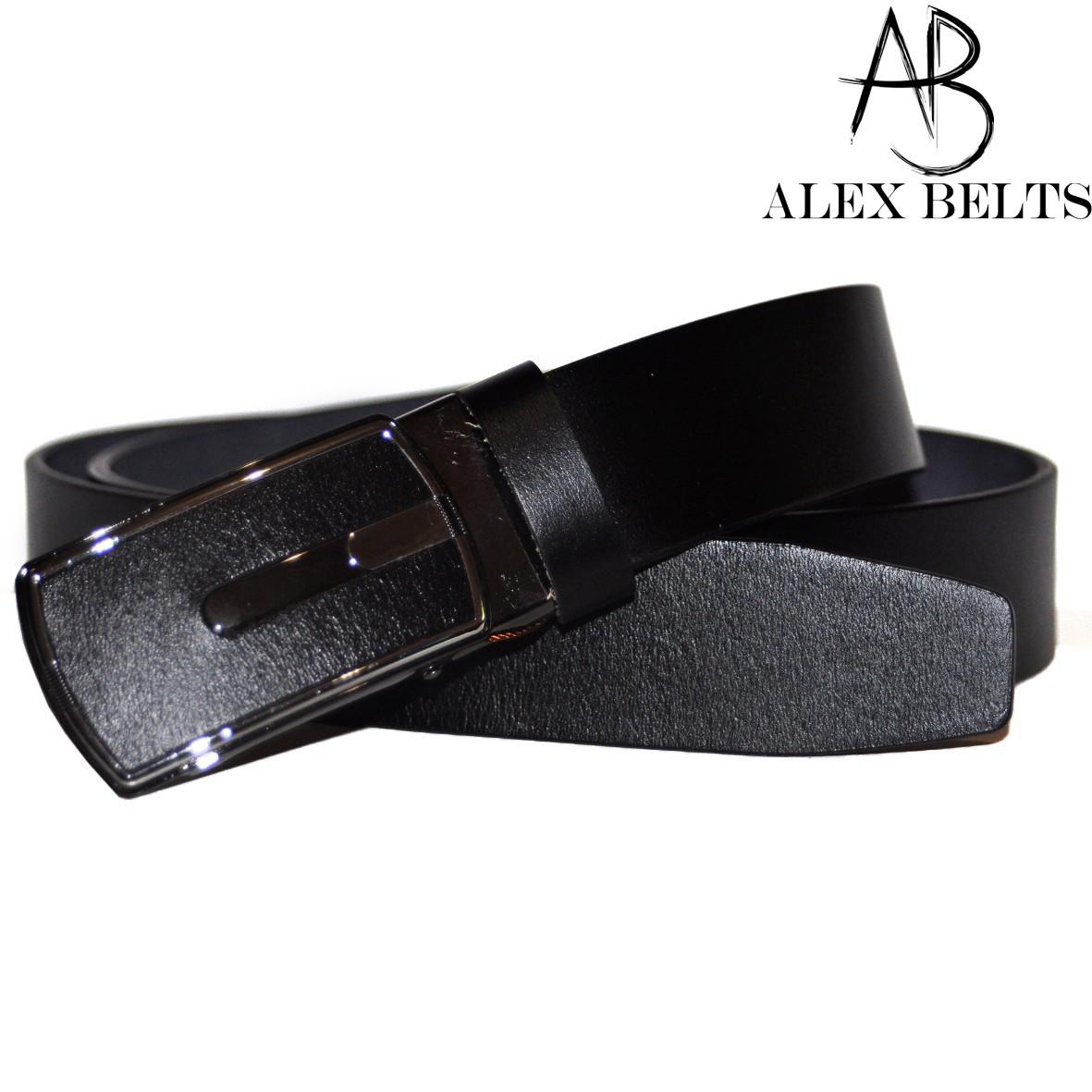 Ремень мужской брючный (черный) с зажимной пряжкой гладкая кожа 35 мм - купить оптом в Одессе