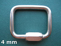 Нержавеющий карабин прямоугольный, 4 мм