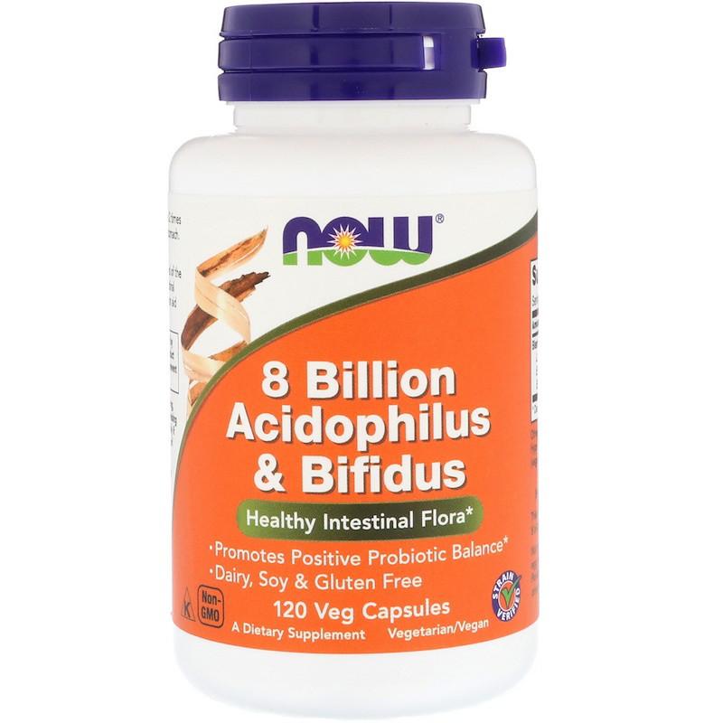 Пробиотики Now Foods, для пищеварения, 8 Billion Acidophilus & Bifidus, 120 капсул