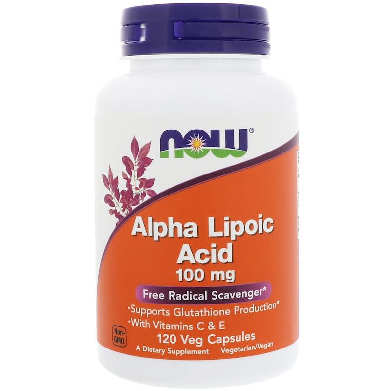 Альфа-липоевая кислота, Now Foods, 100 мг, 120 капc.
