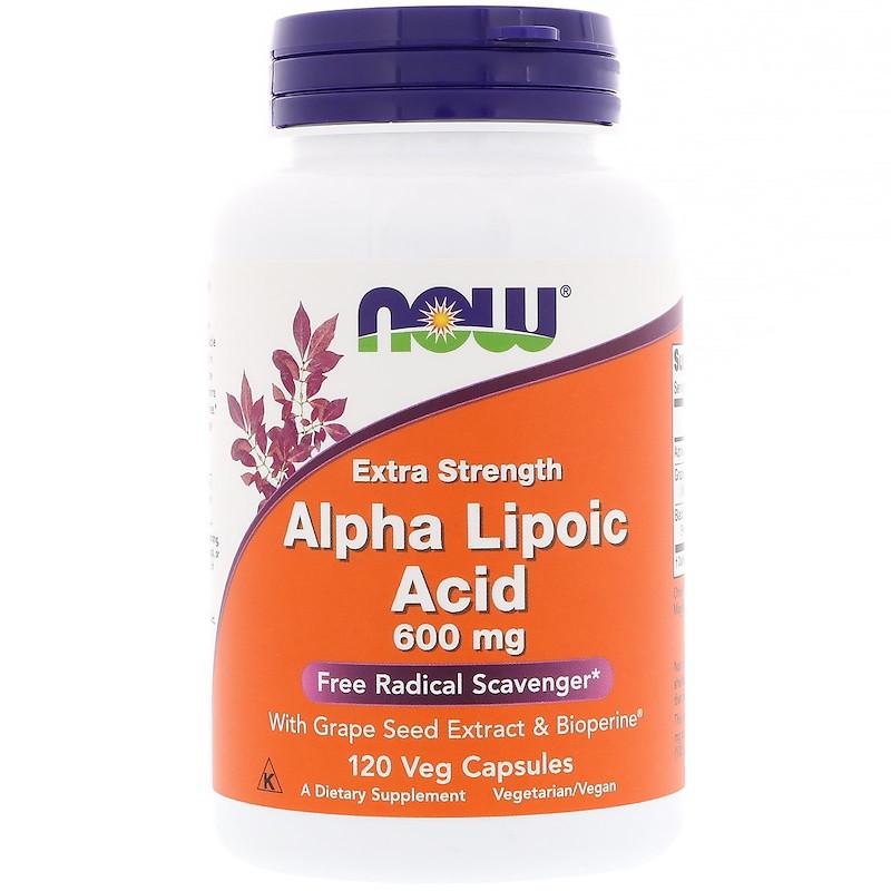 Альфа-липоевая кислота, Now Foods, 600 мг, 120 кап.