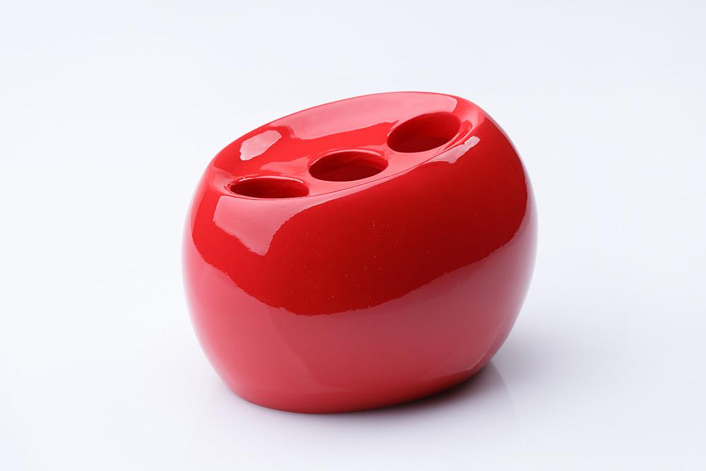 Стакан (держатель) для зубных щеток настольный Нора красный