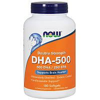 ДГК-500 Омега рыбий жир двойная сила, Now Foods, DHA-500, 180 капсул
