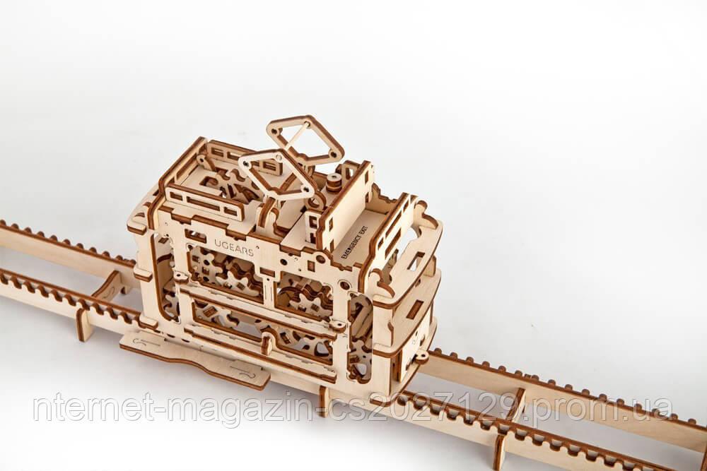 """Детский динамический конструктор 3d пазл из дерева - """"Трамвайчик"""""""