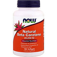 Бета каротин, Now Foods, 25,000 ME, 180 капсул