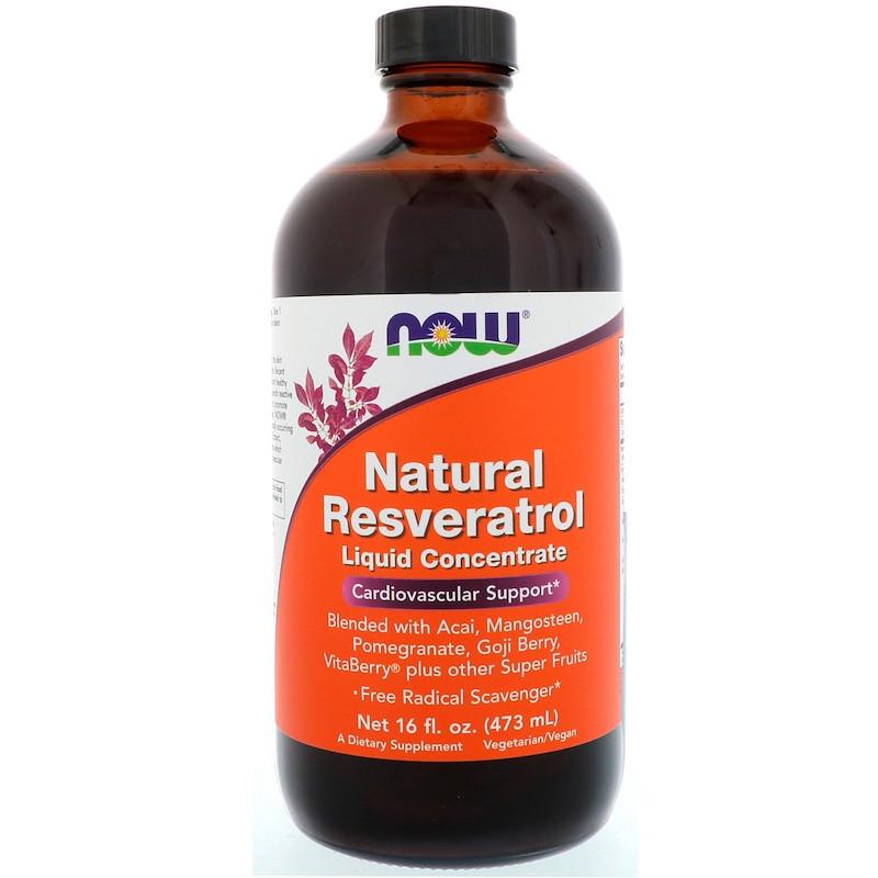 Ресвератрол (Resveratrol), жидкий, Now Foods, 473 мл