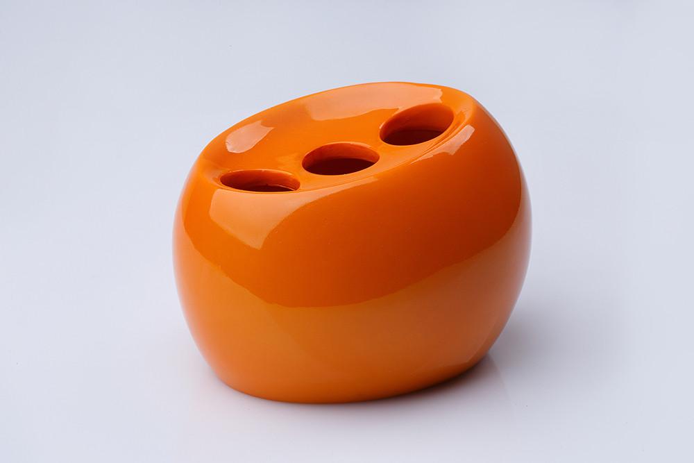 Стакан (держатель) для зубных щеток настольный Нора оранжевый