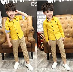 Детская рубашка для мальчика 6-10 лет код: 16008 (желтая)