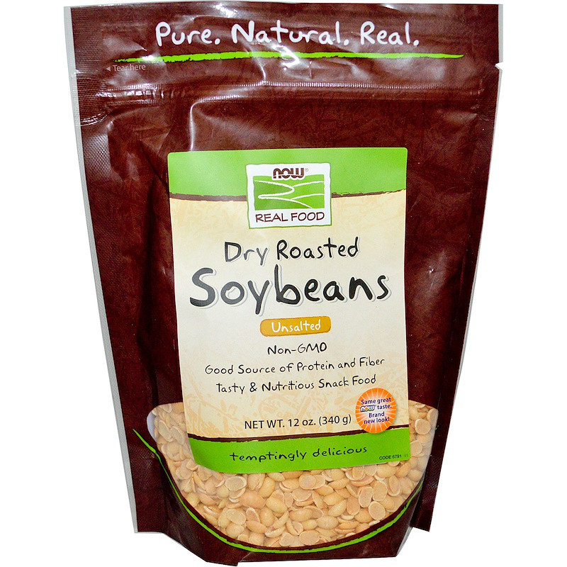 Now Foods, Real Food, соевые бобы сухой жарки, соленые, 340 г