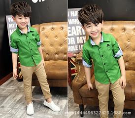 Детская рубашка для мальчика 6-10 лет код: 16008 (зеленая)