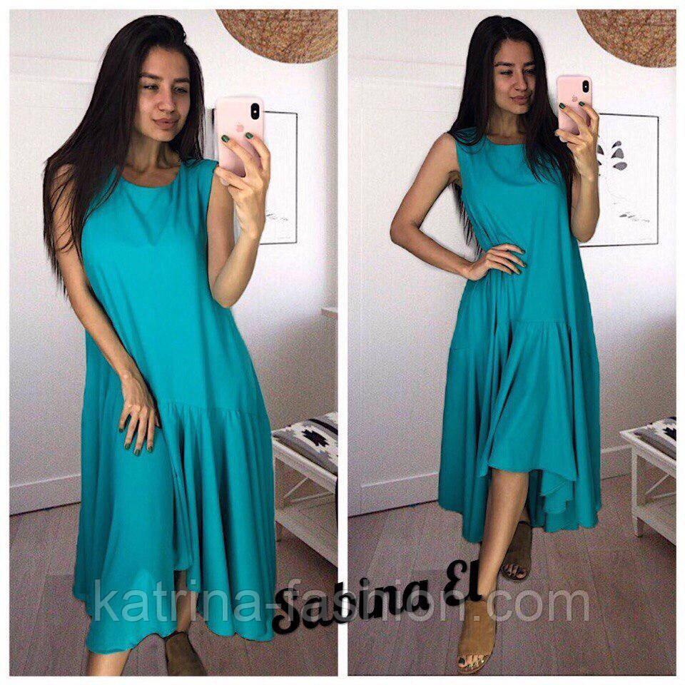 Женское платье свободного кроя с рюшами (3 цвета)