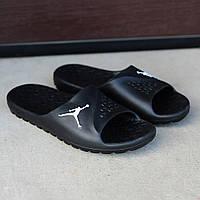 Чёрные мужские тапочки Nike  Air Jоrdan  (реплика)