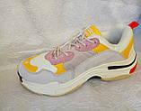 Жіночі кросівки Balenciaga Triple s сірі з жовтим і білим, фото 2