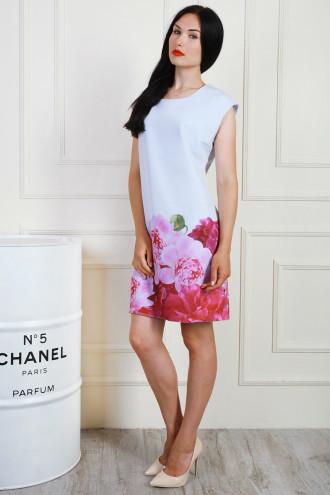 Летнее платье мини с цветочным принтом, 50,52,54
