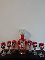 Набор из цветного хрусталя рюмок на ножке и графин Богемия