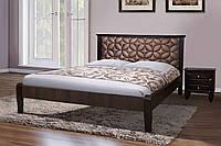 Кровать двуспальная деревянная (массив клена) с мягким изголовьем  Рубин 160х200 Микс мебель, цвет темный орех