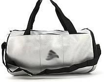 Спортивная женская сумка из эко кожи бочонок art. 418 (102162) серебристая
