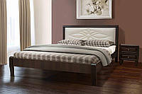Кровать двуспальная деревянная (массив клена) с мягким изголовьем   Скиф Микс мебель, цвет темный орех