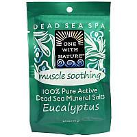 One with Nature, Минеральные соли Мертвого моря, успокаивающие мышцы, эвкалипт, 2,5 унции (70 г)