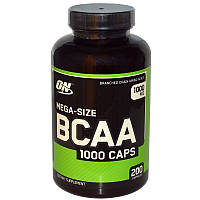 BCAA мега 1000, Mega-Size BCAA 1000, Optimum Nutrition, 1000 мг, 200 капсул