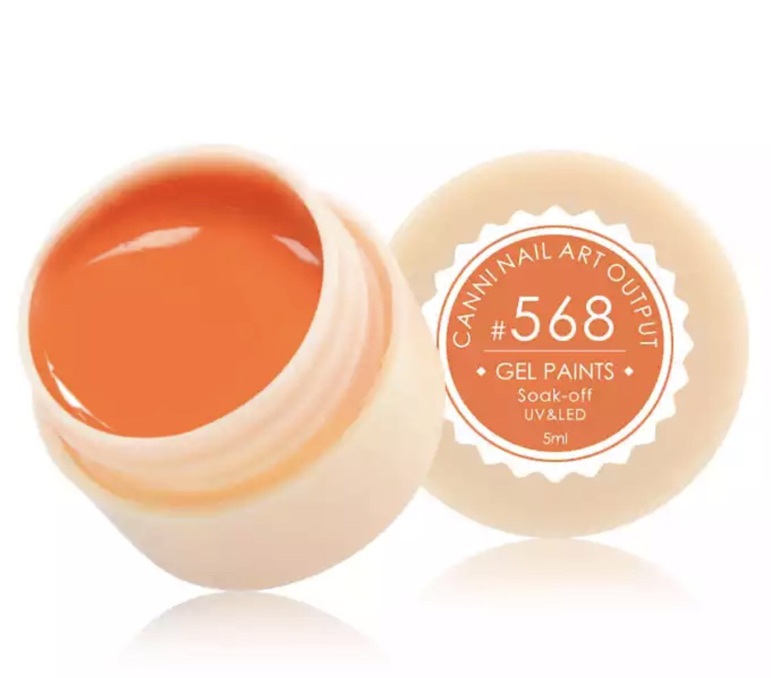 Гель-фарба CANNI 568 (яскравий помаранчевий), 5 мл