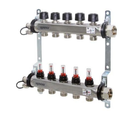 Сталевий Колектор для теплої підлоги з витратоміром Uponor Smart S 5X3/EURO 4