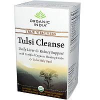 Organic India, Очищающий чай тулси, без кофеина, 18 пакетиков для заваривания, 1,02 унции (28,8 g)