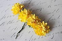 Бумажные хризантемы  3,5 см 4 шт/уп. желтого цвета для творчества, фото 1