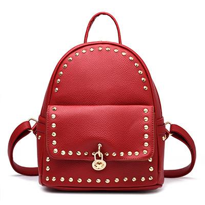 Модный рюкзак женский городской. Рюкзак для девочки с навесным замочком и заклепками (красный)