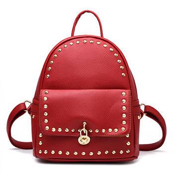 Модний рюкзак жіночий міський. Рюкзак для дівчинки з навісним замком і заклепками (червоний)