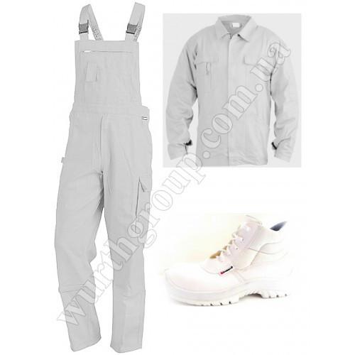 Комплект Белый, куртка и комбинезон, 100% ХБ и ботинки высокие белые