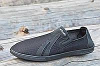 Мужские мокасины туфли летние стильные удобные сетка черные (Код: 1036), фото 1