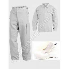 Комплект Белый, куртка и брюки, 100% ХБ и ботинки высокие белые