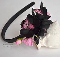 """""""Королева ночь"""" обруч с черными орхидеями"""