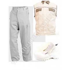 Комплект Белый, жилет и брюки ПЭ/ХБ и ботинки высокие белые Wurth