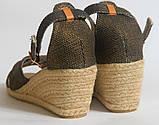 Сандалии на каблуке на бечевке под бронзу, фото 3