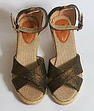 Сандалии на каблуке на бечевке под бронзу, фото 4