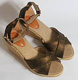 Сандалии на каблуке на бечевке под бронзу, фото 5