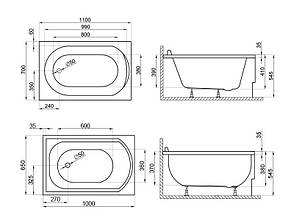 Ванна Polimat Mini 100x65 (00059), фото 2