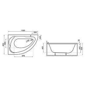 Ванна Polimat Standard асиметрична 130х85, L (00350), фото 2