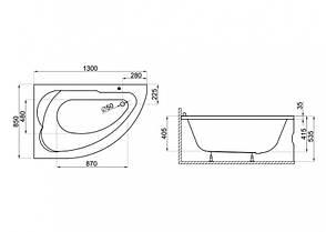 Ванна Polimat Standard асиметрична 130х85, R (00343), фото 2