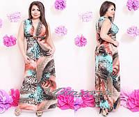 Платье в пол с леопардовым принтом