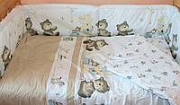 Защита бампер в детскую кроватку из 2 частей Мишка горошек бежевый