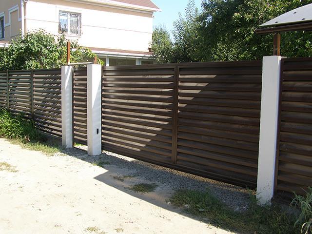 Откатные ворота жалюзи из ламелей 3000х2000