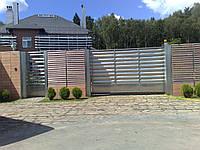 Відкатні ворота жалюзі з ламелей 3500х2000, фото 1