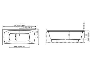 Ванна Polimat Capri New універсальна 160x70 (00028), фото 2