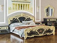 Кровать двуспальная в классическом стиле  Кармен новая люкс   Світ меблів 160х200 чёрная золото
