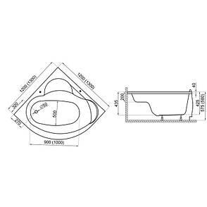 Ванна Polimat Standard I кутова 130х130 (00219), фото 2