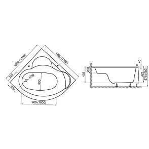 Ванна Polimat Standard I кутова 120х120 (00205), фото 2