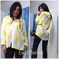 Легкая рубашка в клетку с капюшоном, расцветки, фото 1